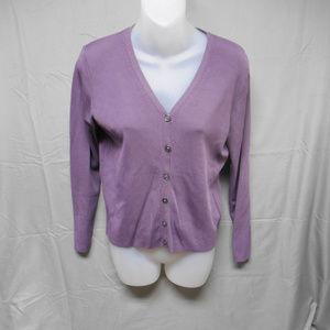J Crew button purple cardigan sweater medium